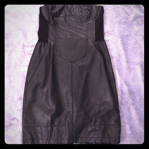 Mini Faux Leather Strapless Dress